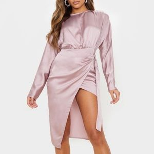 Mauve Satin Wrap Skirt Backless Dress